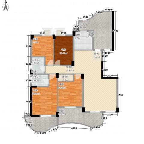 森林海4室1厅2卫1厨160.00㎡户型图