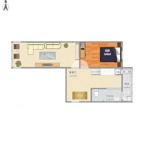 红波西里1室2厅1卫1厨61.00㎡户型图