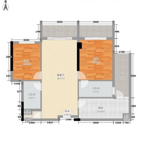 惠州雅居乐白鹭湖2室1厅2卫1厨131.00㎡户型图
