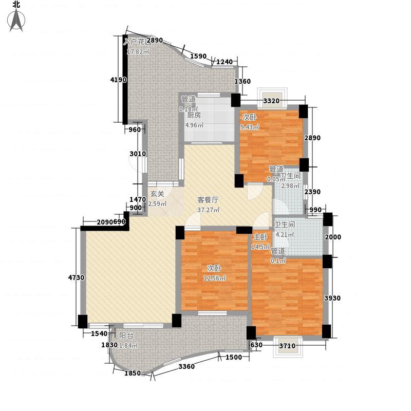 森林海136.80㎡13#T户型3室2厅2卫1厨