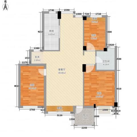 弘基书香园3室1厅1卫1厨117.00㎡户型图