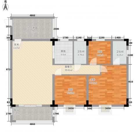 康盈广场3室1厅2卫1厨108.13㎡户型图