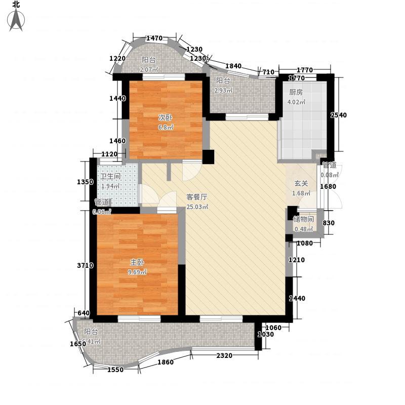 森林海户型图37#A型 2室2厅1卫1厨