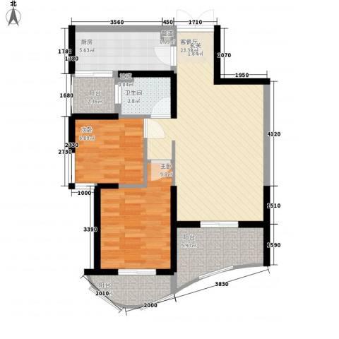 森林海2室1厅1卫1厨88.00㎡户型图