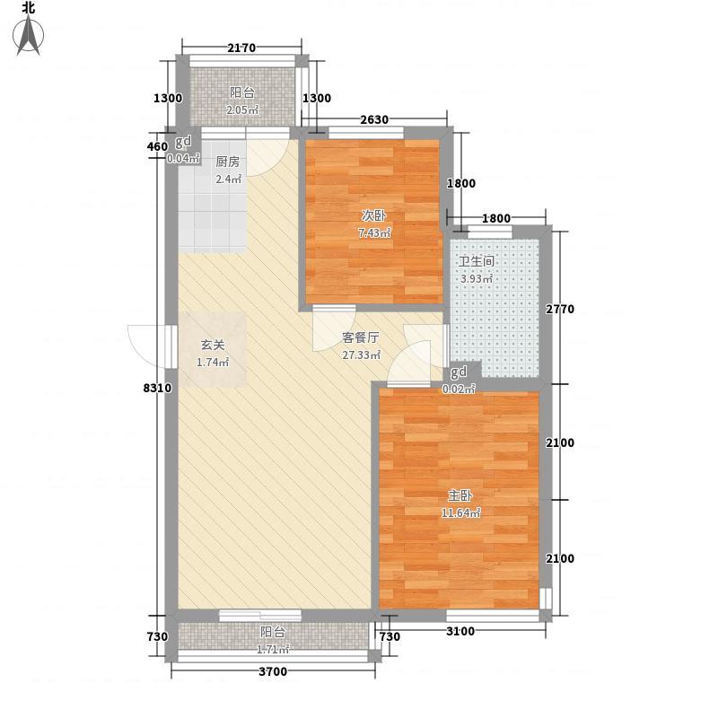 亚联翡翠春城76.00㎡浅草香槟37号楼G户型2室2厅1卫1厨
