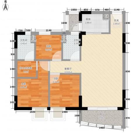 海富花园四期3室1厅2卫1厨79.00㎡户型图