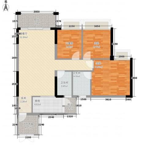 中颐海伦堡3室1厅2卫1厨113.00㎡户型图