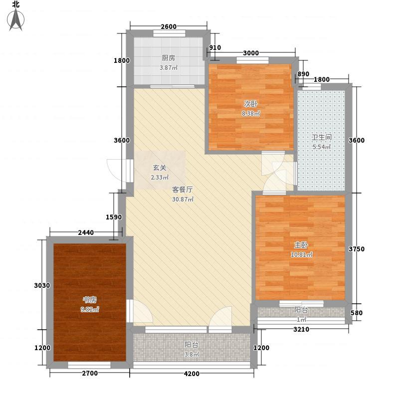亚联翡翠春城5.00㎡43号楼山的传说B户型3室1厅1卫1厨
