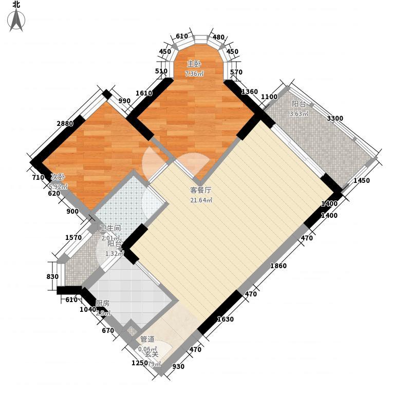 海富花园四期62.16㎡6号楼标准层3单位户型2室2厅1卫1厨