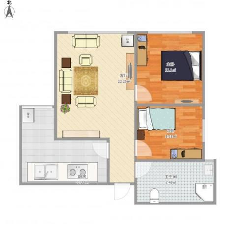 朗诗绿色街区2室1厅1卫1厨81.00㎡户型图
