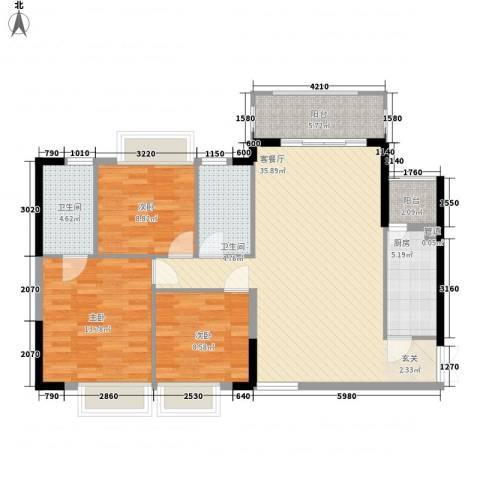 金裕大厦3室1厅2卫1厨125.00㎡户型图