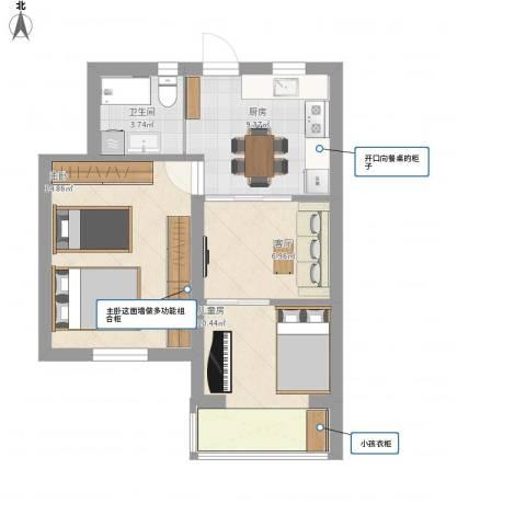 松林小区2室1厅1卫1厨52.76㎡户型图