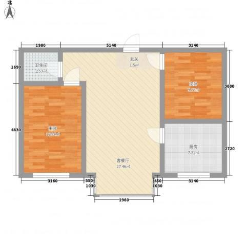春光嘉园2室1厅1卫1厨86.00㎡户型图