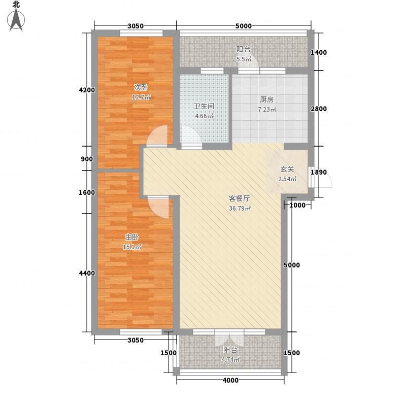 北岸上筑6.60㎡D户型2室2厅1卫1厨
