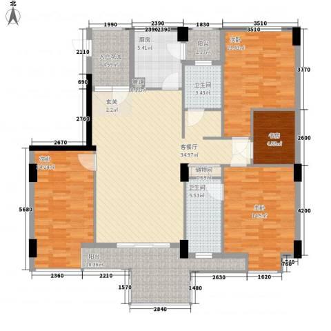 山水世家4室1厅2卫1厨126.00㎡户型图