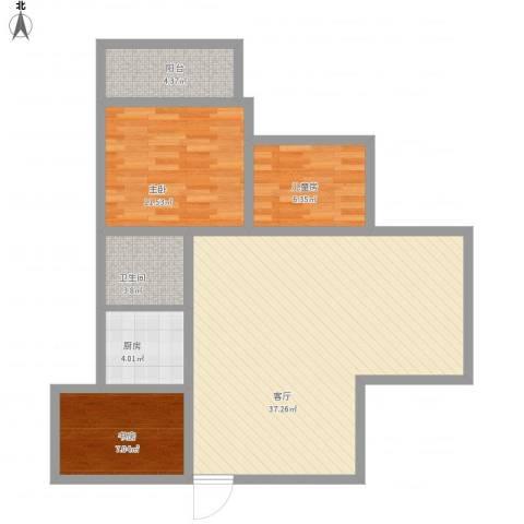 临湖社区3室1厅1卫1厨106.00㎡户型图