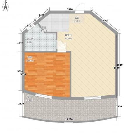 晋唐海湾1室1厅1卫0厨67.92㎡户型图