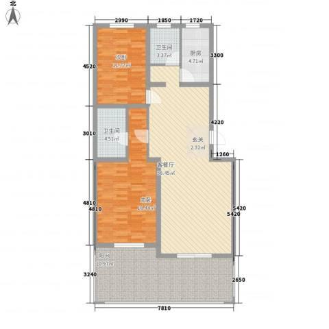烟厂小区2室1厅2卫1厨140.00㎡户型图