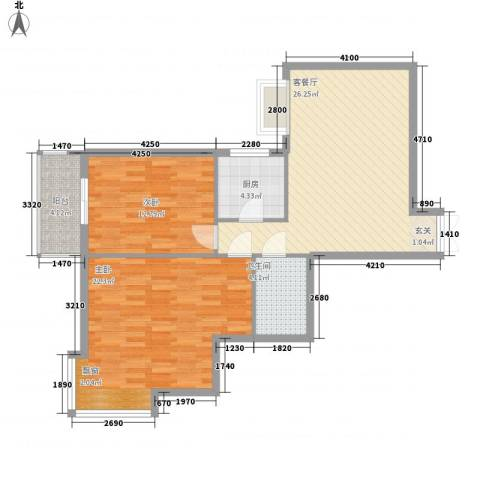 鼎新花园2室1厅1卫1厨100.00㎡户型图