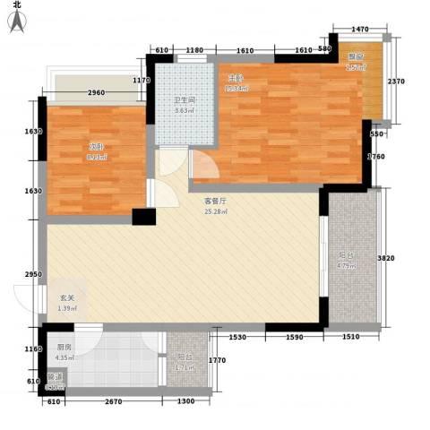 阳城景园2室1厅1卫1厨92.00㎡户型图