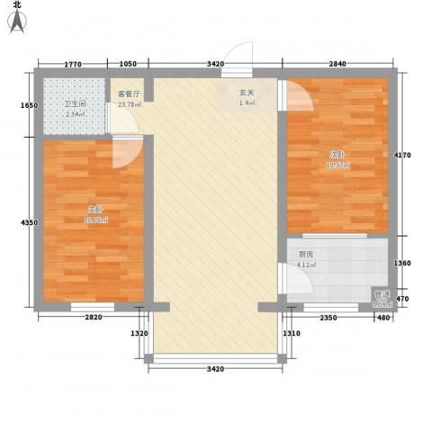 粮食局家属楼2室1厅1卫1厨74.00㎡户型图