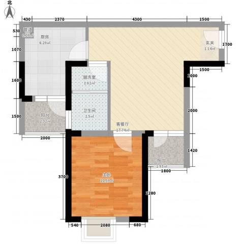 西雅图观海苑1室2厅1卫1厨63.00㎡户型图