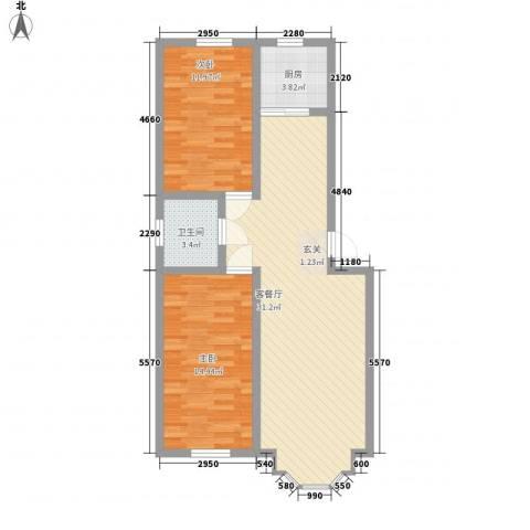 春光嘉园2室1厅1卫1厨93.00㎡户型图