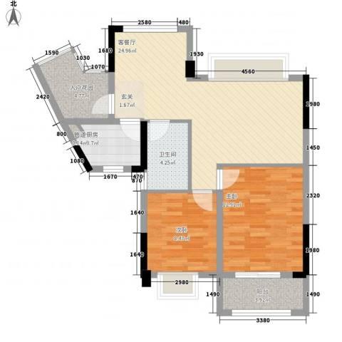 元邦明月金岸2室1厅1卫1厨84.00㎡户型图