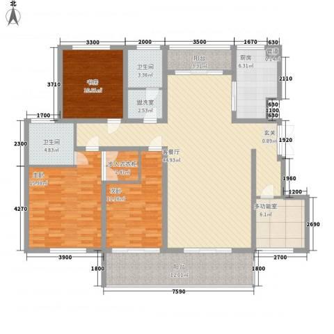建大花园3室2厅2卫1厨178.00㎡户型图