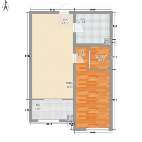 长春明珠1室1厅1卫1厨78.00㎡户型图