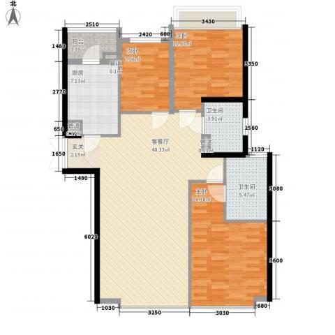 鹰龙大厦3室1厅2卫1厨131.00㎡户型图