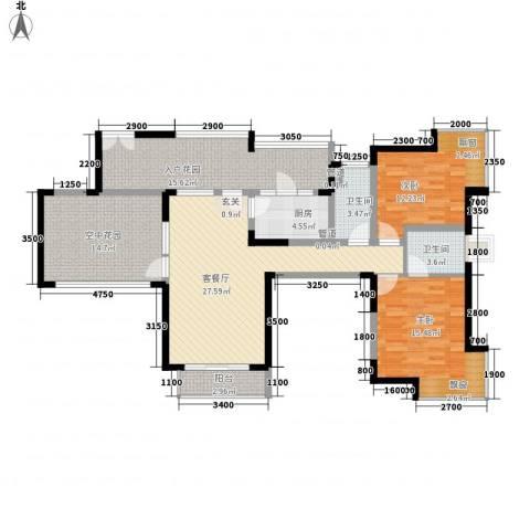 健朗花园2室1厅2卫1厨100.36㎡户型图