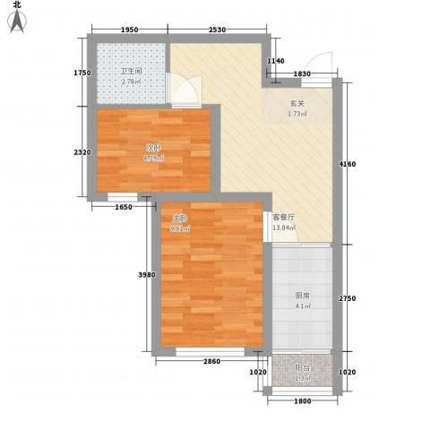 永畅美域2室1厅1卫1厨55.00㎡户型图
