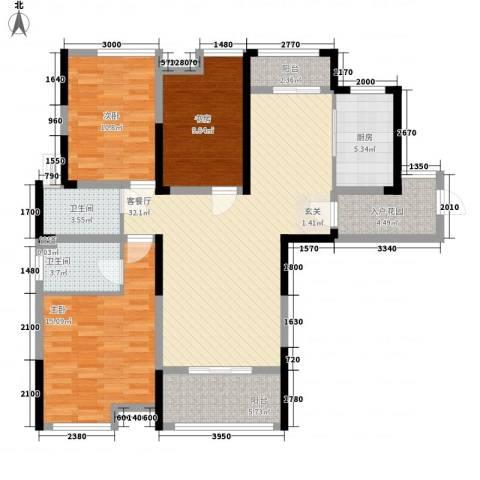 济民可信艾溪康桥3室1厅2卫1厨119.00㎡户型图