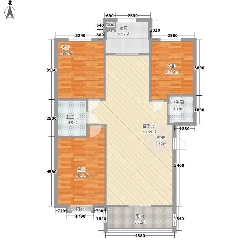 天庆嘉园B区星河缘130.00㎡D-2户型3室2厅2卫1厨