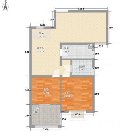 众兴・嘉城2室1厅1卫1厨102.00㎡户型图