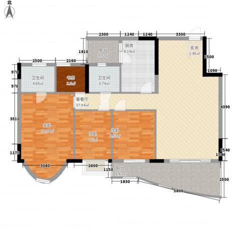 逸景翠园御华轩4室1厅2卫1厨152.00㎡户型图