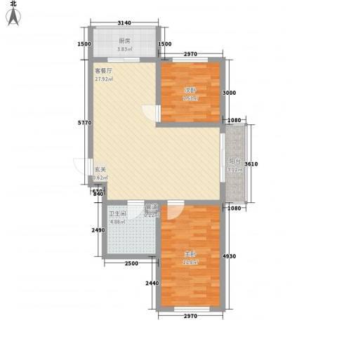 金丰紫馨花园2室1厅1卫1厨60.21㎡户型图