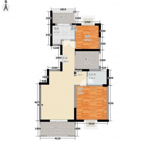 海纳国际2室1厅1卫1厨95.00㎡户型图