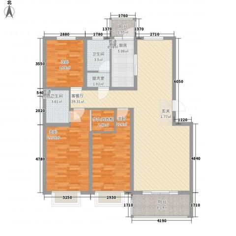 俪城3室2厅2卫1厨144.00㎡户型图