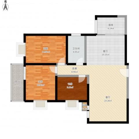 望庭国际3室1厅1卫1厨146.00㎡户型图