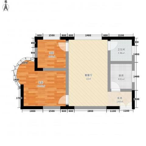 志龙大厦2室1厅1卫1厨56.00㎡户型图