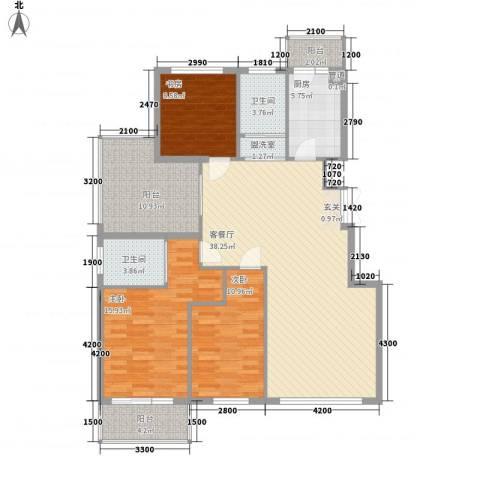 北京公园3室1厅2卫1厨122.00㎡户型图