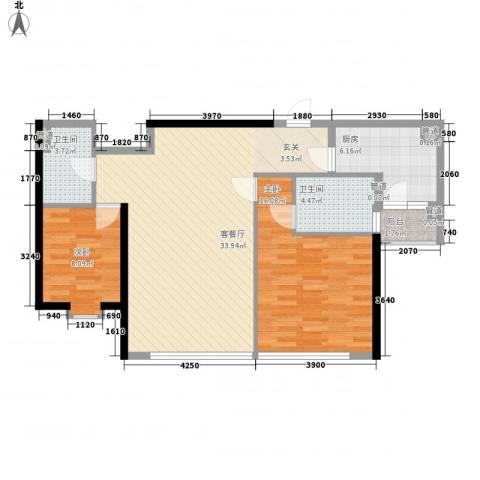 鹰龙大厦2室1厅2卫1厨105.00㎡户型图