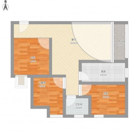 沙坝子3室1厅1卫1厨82.00㎡户型图