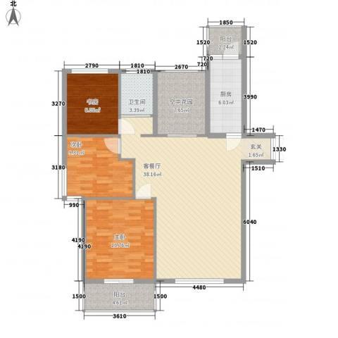 北京公园3室1厅1卫1厨120.00㎡户型图