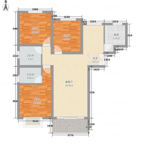 梧桐公馆3室1厅2卫1厨120.00㎡户型图