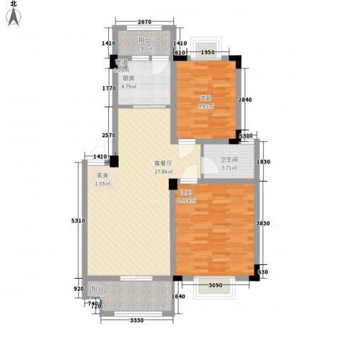 海纳国际2室1厅1卫1厨83.00㎡户型图