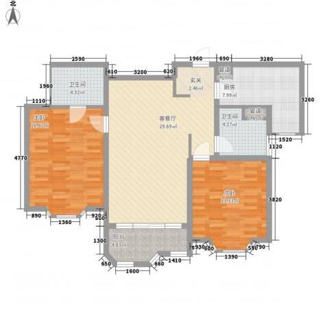 瑞南新苑2室1厅2卫1厨117.00㎡户型图