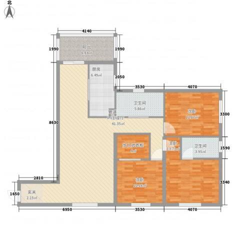 维也纳花园3室1厅2卫1厨148.00㎡户型图